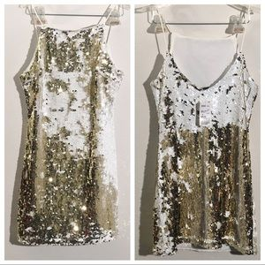 Forever 21 Gold & White Sequin Dress Size Small